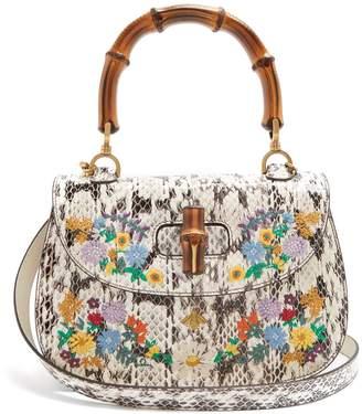 Embroidered bamboo-handle snakeskin bag