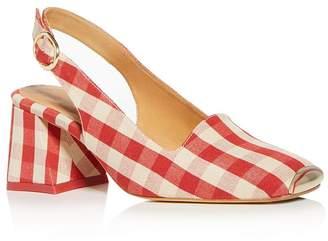 1ac26908c7 Miista Women's Gingham Slingback Block-Heel Sandals