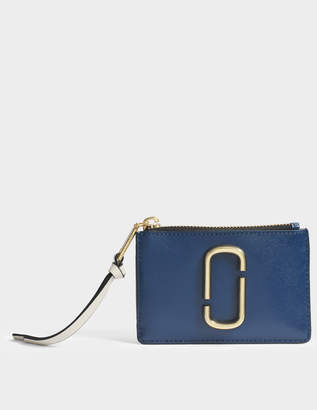 Marc Jacobs Snapshot Top Zip Multi Wallet in Blue Sea Multi Split Cow Leather