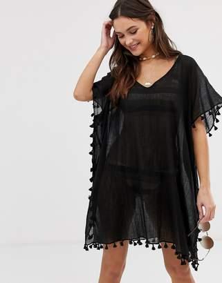 Seafolly Amnesia crinkled beach kaftan in black