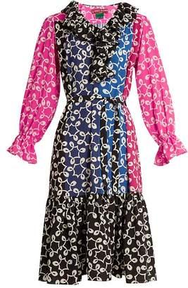 Duro Olowu Nina Contrast Panel Ruffled Neck Crepe Dress - Womens - Multi
