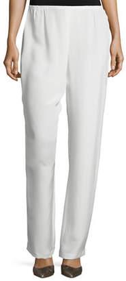 Caroline Rose Silk Crepe Straight-Leg Pants, Plus Size