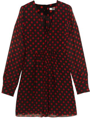McQ Alexander McQueen - Polka-dot Chiffon Mini Dress - Black $595 thestylecure.com