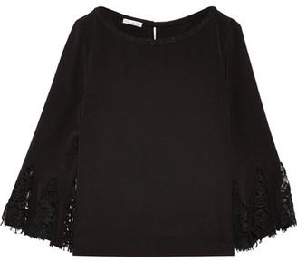 Oscar de la Renta - Lace-trimmed Silk Crepe De Chine Blouse - Black $1,390 thestylecure.com