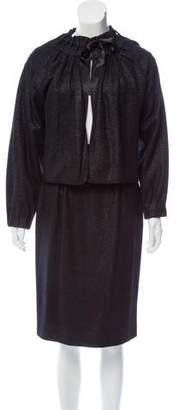 Saint Laurent Silk-Trimmed Wool-Blend Skirt Suit w/ Tags
