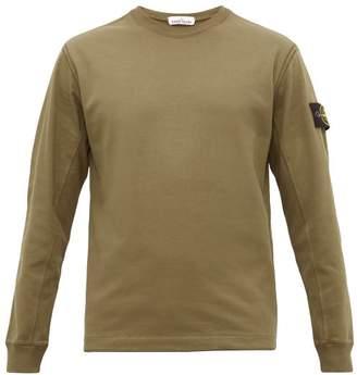 Stone Island Arm Badge Cotton Long Sleeved T Shirt - Mens - Dark Green
