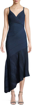 Cédric Charlier V-Neck Sleeveless Asymmetric-Rib Knit Dress