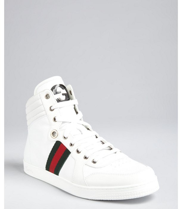 Gucci white grained leather web stripe high top sneakers