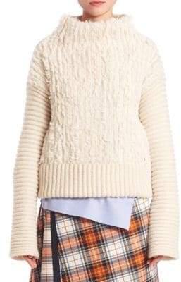 Alberta Ferretti Furry Cable-Knit Turtleneck