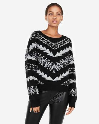 Express Mitered Geometric Pullover Sweater