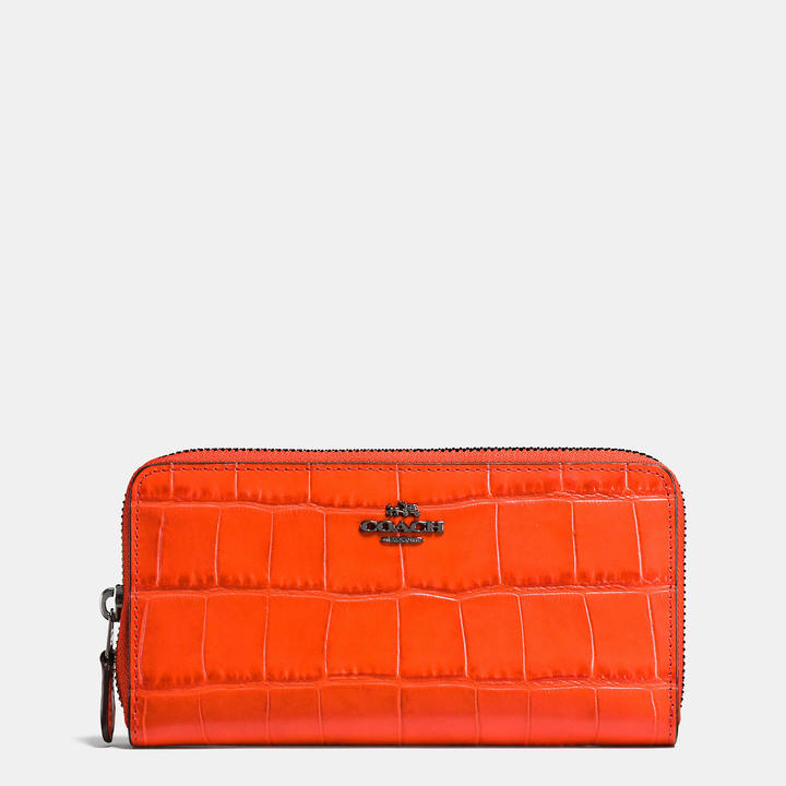 Coach   COACH Coach Accordion Zip Wallet In Croc Embossed Leather