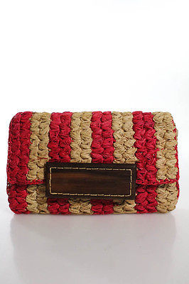 mar Y sol Hot Pink Beige Woven Straw Wood Closure Clutch Handbag $39 thestylecure.com