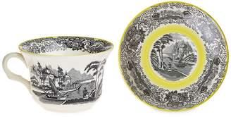 La Cartuja de Sevilla Negro Vistas tea cup and saucer - Yellow
