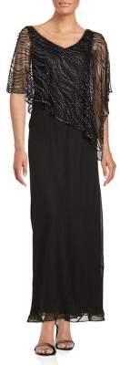 J Kara Plus Beaded Popover Gown