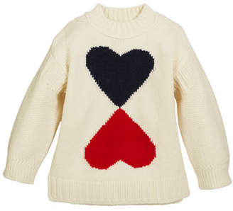 Burberry Double Heart Intarsia Sweater, Size 4-14