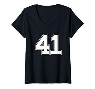 Womens Number 41 Shirt Baseball Football Soccer Fathers Day Gift V-Neck T-Shirt