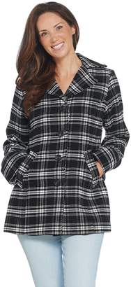Joan Rivers Classics Collection Joan Rivers Button Front Plaid Swing Coat