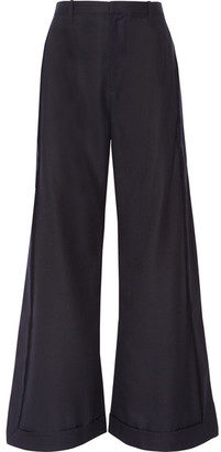 Jacquemus - Wool Wide-leg Pants - Midnight blue $570 thestylecure.com