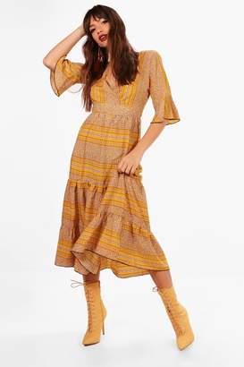 boohoo Lexi Wrap Front Tierred Bohemian Midi Dress