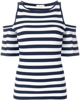 MICHAEL Michael Kors striped cold shoulder T-shirt