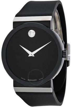Movado Sapphire Synergy Black Dial Black Rubber Men's Watch 606780