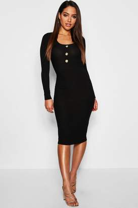 boohoo Ribbed Long Sleeve Bodycon Midi Dress With Buttons
