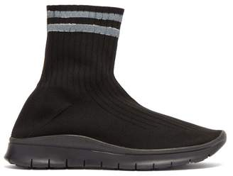 Maison Margiela - Striped High Top Sock Trainers - Womens - Black