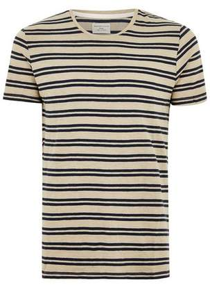 Topman Mens Brown SELECTED HOMME Beige Stripe T-Shirt