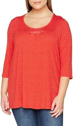 Ulla Popken Women's Shirt mit Minimalprint und Strass, A-Line Regular Fit 3/4 Sleeve Longsleeve T - Shirt,(Manufacturer Size: 46/48)