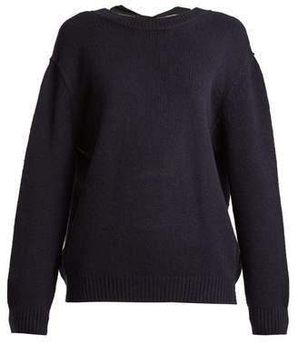 Miu Miu Open Back Cashmere Sweater - Womens - Navy