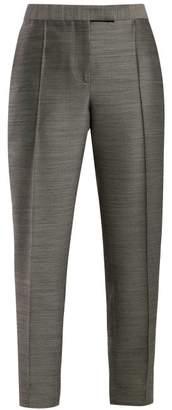 Bottega Veneta Slim Leg Wool And Silk Trousers - Womens - Grey