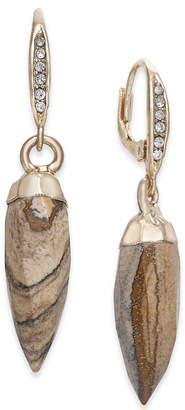 Paul & Pitu Naturally Gold-Tone Jasper Stone Spike Drop Earrings