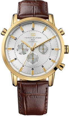 Tommy Hilfiger Watch, Men's Brown Croc-Embossed Leather Strap 44mm 1790874