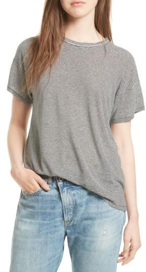 Women's Rag & Bone/jean Stripe Linen Blend Tee