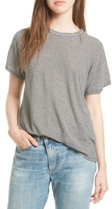 Women's Rag & Bone/jean Stripe Linen Blend Tee $95 thestylecure.com