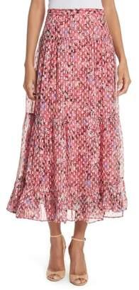 Saloni Andie Ruffle Hem Silk Blend Skirt