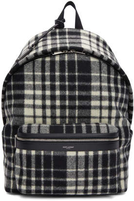 Saint Laurent Black and White Check City Backpack