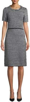 Tory Burch Embellished Tweed Short-Sleeve Dress