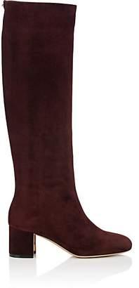 Salvatore Ferragamo Women's Sculpted-Heel Suede Knee Boots - Wine