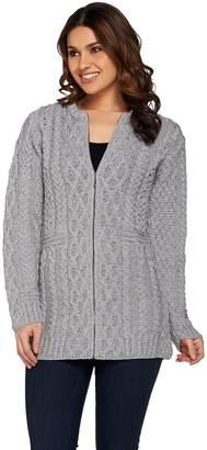 Kilronan Petite Merino Wool Zip Front Long Cardigan