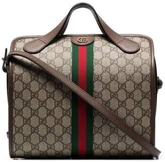 Gucci beige and brown supreme ophidia mini duffle bag tote