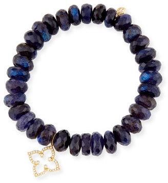Sydney Evan 10mm Beaded Spectralite Bracelet with Diamond Moroccan Flower Charm $905 thestylecure.com