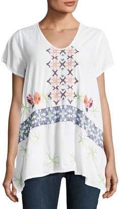 Johnny Was Wilson Embroidered-Front Tunic, Multi Pattern $169 thestylecure.com