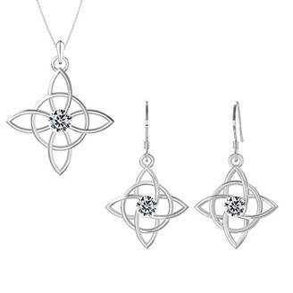 Celtic Sterling Silver Good Luck Knot Pendant Earrings Set Embellished With Diamond Color s