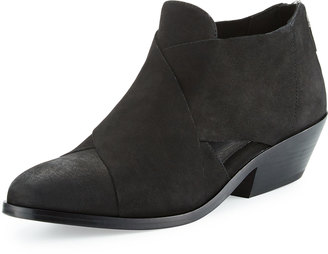 Eileen Fisher Cluster Leather Crisscross Bootie, Black $189 thestylecure.com