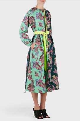 Tibi Paisley Print On Cotton Shirt Dress