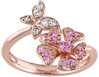 Laura Ashley Lifestyles Sterling Silver Pink & White Sapphire Butterfly & Flower Ring