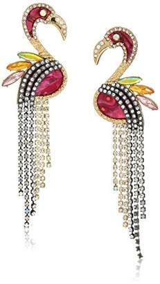 Betsey Johnson GBG) Paradise Lost Women's And Crystal Stone Flamingo Drop Earrings