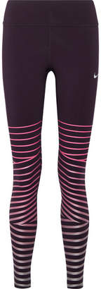Nike Power Epic Lux Metallic Striped Dri-fit Stretch Leggings - Grape