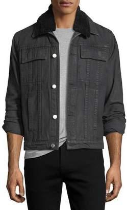 Helmut Lang Mr. 87 Denim Jacket with Faux Fur Collar $415 thestylecure.com